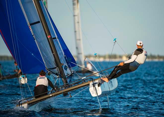 ISAF Sailing World Cup Miami 2014 - Day 2, Nacra 17 © Walter Cooper /US Sailing http://ussailing.org/