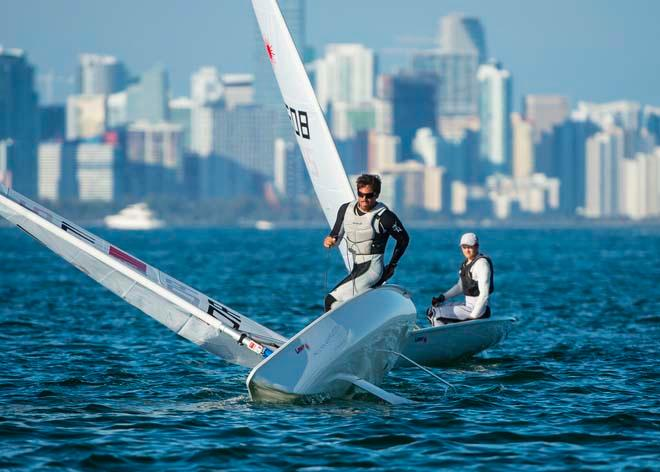 ISAF Sailing World Cup Miami 2014 - Day 2, Laser fleet © Walter Cooper /US Sailing http://ussailing.org/