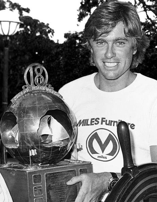 1976 champion Stephen Kulmar with the JJ Giltinan Trophy © Frank Quealey /Australian 18 Footers League http://www.18footers.com.au