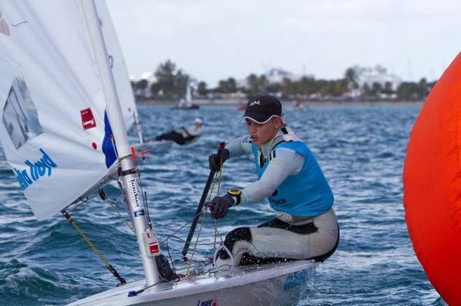 Marit Bouwmeester in action during the Laser Radial medal race at the 2014 ISAF Sailing World Cup Miami © Richard Langdon /Ocean Images http://www.oceanimages.co.uk