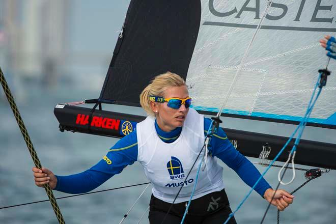 Hanna Klinga, 49erFX - ISAF Sailing World Cup Miami 2014 - day 5 © Walter Cooper /US Sailing http://ussailing.org/