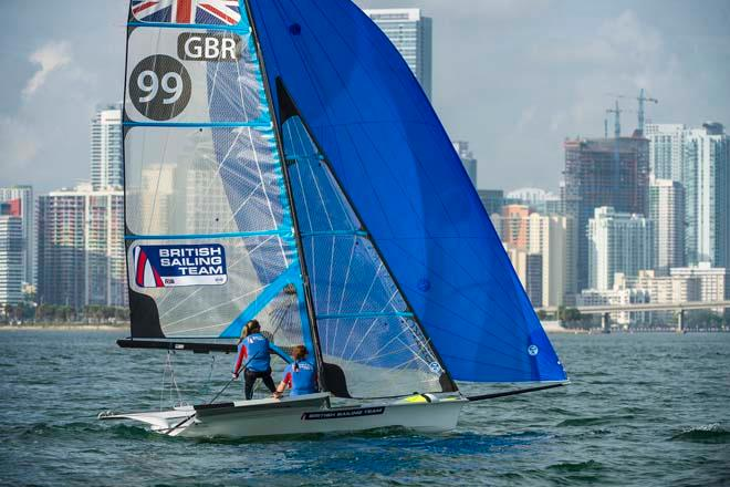 Kate Macgregor and Katrina Best - ISAF Sailing World Cup Miami 2014 - day 5 © Walter Cooper /US Sailing http://ussailing.org/