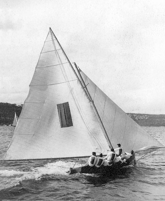 The first Giltinan Champion,Taree in 1938 - JJ Giltinan 18ft Skiff Championship 2014  © Australian 18 Footers League http://www.18footers.com.au