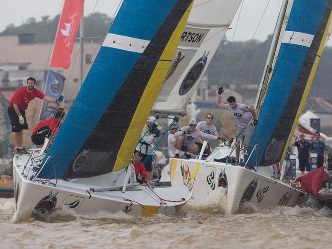 Close to shore action at the Monsoon Cup in Malaysia - Alpari World Match Racing Tour  2014 © Alpari World Match Racing Tour