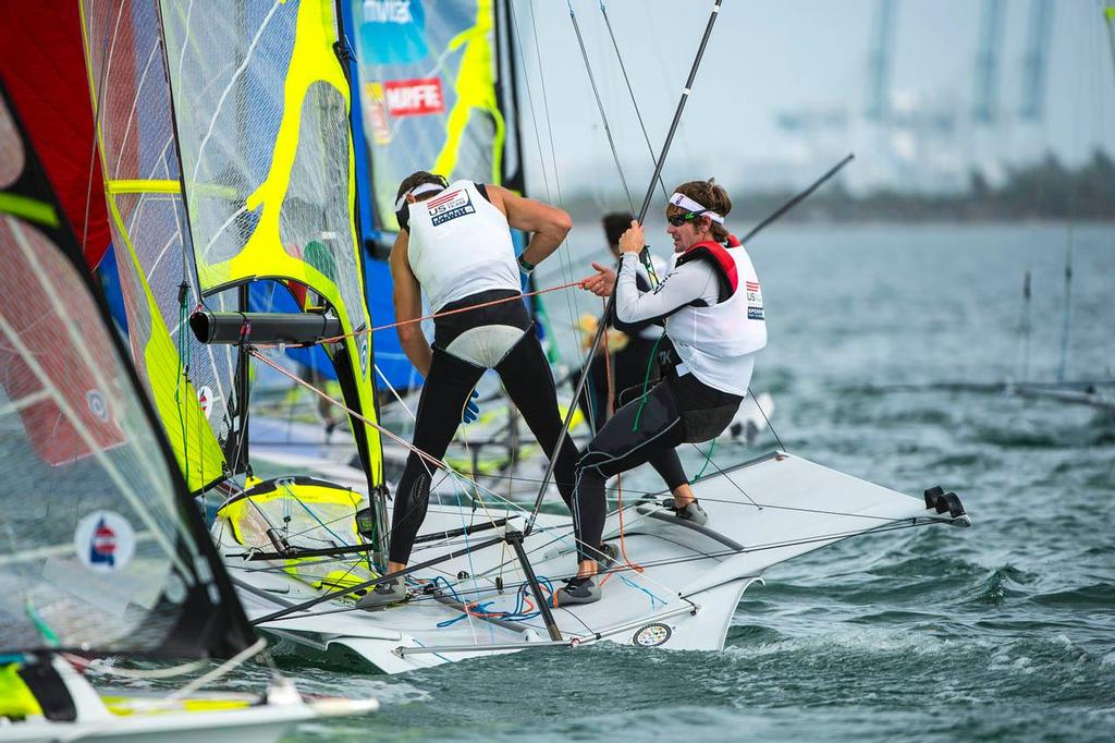 Brad Funk and Trevor Burd (USA), 49er - 2014 ISAF Sailing World Cup Miami day 5 © Walter Cooper /US Sailing http://ussailing.org/