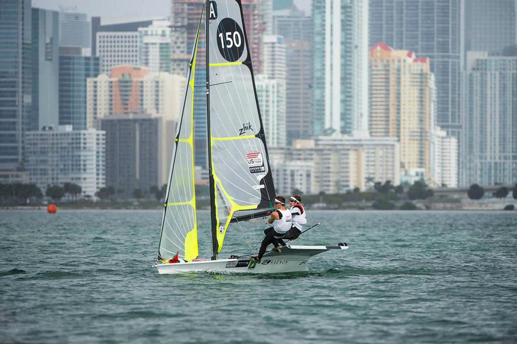 Brad Funk and Trevor Burd, ISAF: USABF3 - Class: 49er, Sail Number: USA 150 - ISAF Sailing World Cup Miami day 5 © Walter Cooper /US Sailing http://ussailing.org/