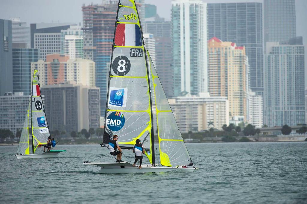 Julien d'Ortoli and Noe Delpech, Class: 49er, Sail Number: FRA 8 - 2014 ISAF Sailing World Cup Miami day 5 © Walter Cooper /US Sailing http://ussailing.org/