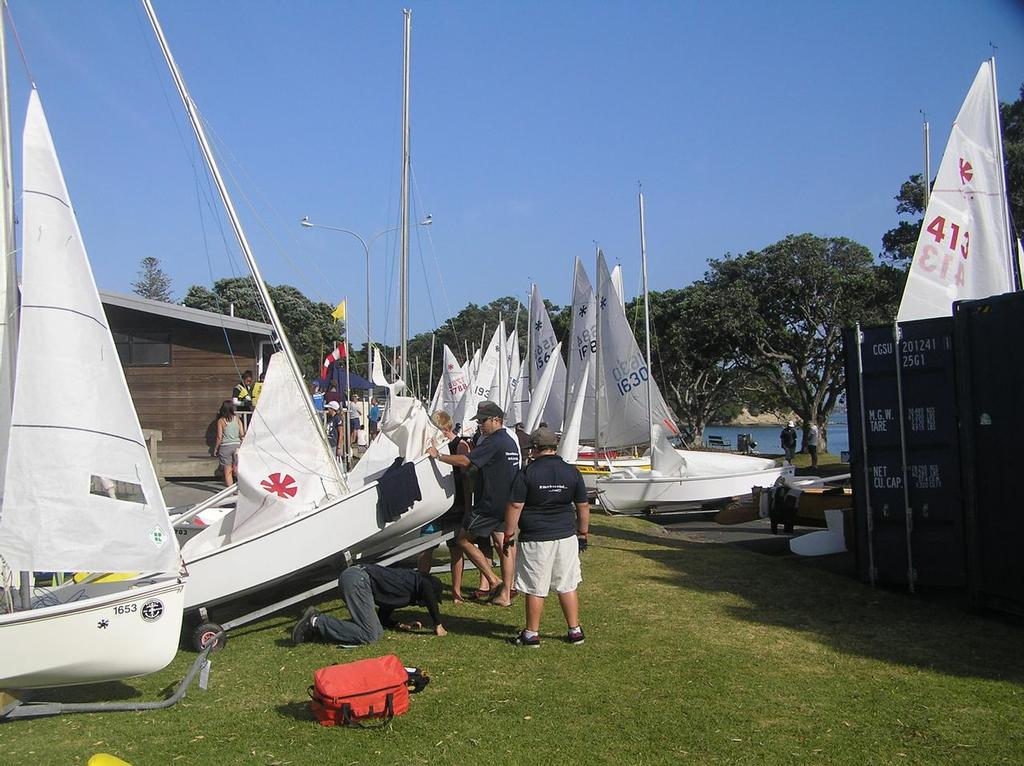 There were 69 sunbursts in the fleet for the 2014 Nationals. Here rigging in front of the clubhouse. - Sunburst 50th Celebrations and 2014 Nationals © Nigel Price