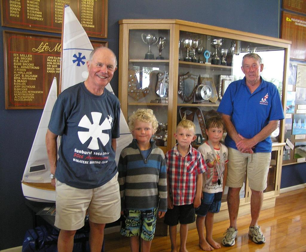 The two oldest and the three youngest competitors at the 2014 Sunburst Nationals - from left : Colin Dalziel, Jack Beavis, Cameron Brown, Flinn Olson, Maurice Scott. The age range here is a 71 year difference between the oldest and youngest competitor. - Sunburst 50th Celebrations and 2014 Nationals © Nigel Price