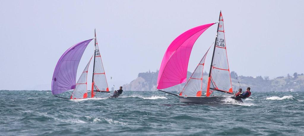 from the South - George & Henry - with James & Oscar hunting them down - 29er NZ Nationals 2014 © John Adair