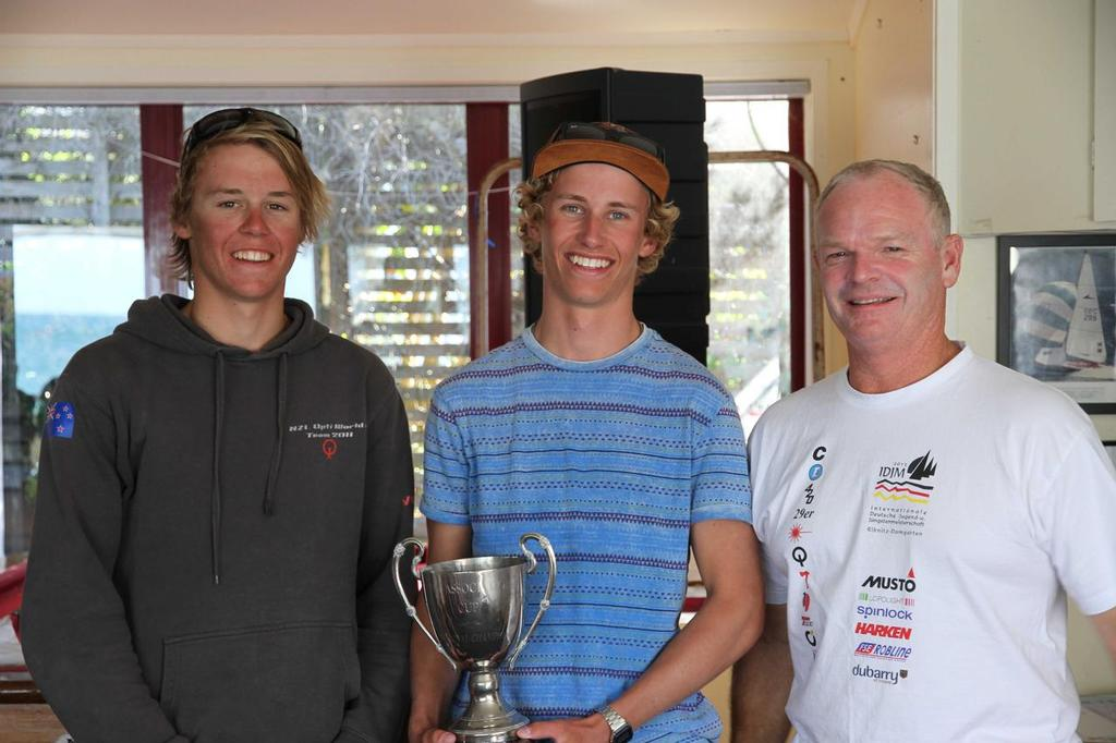 Isaac & Markus - 29er National Champions 2014, with Kim Rogers (29er Class President) - 29er NZ Nationals 2014 © John Adair