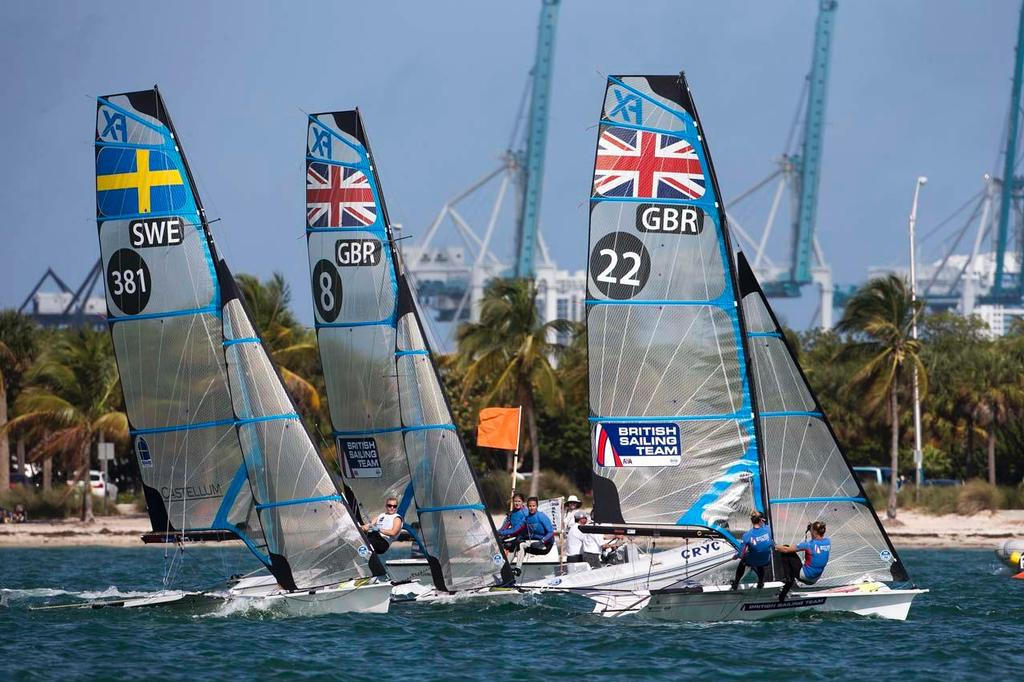 Charlotte Dobson and Sophie Ainsworth, 49er FX - ISAF Sailing World Cup Miami 2014 © Richard Langdon /Ocean Images http://www.oceanimages.co.uk