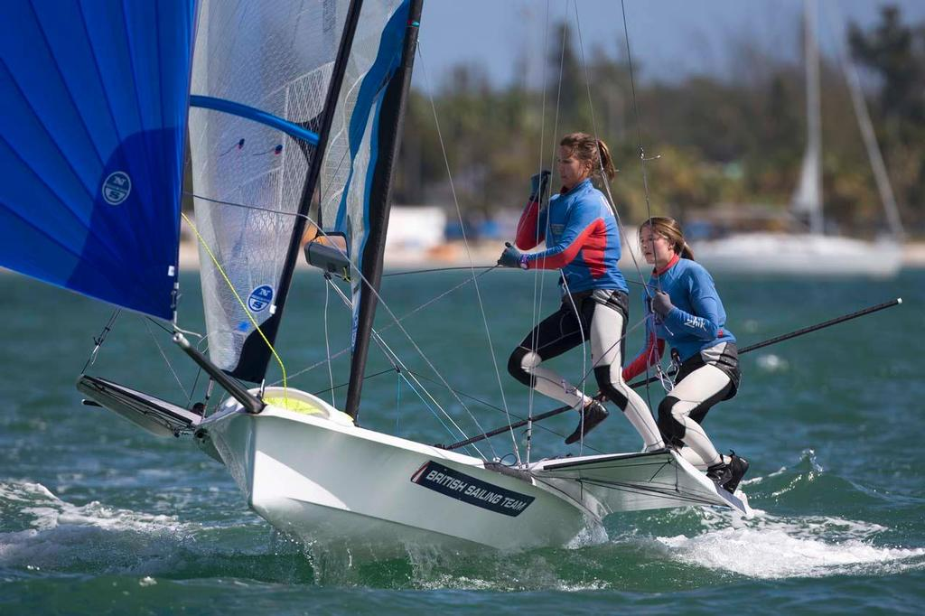 Frances Peters and Nicola groves 49er FX - 2014 ISAF Sailing World Cup Miami © Richard Langdon /Ocean Images http://www.oceanimages.co.uk