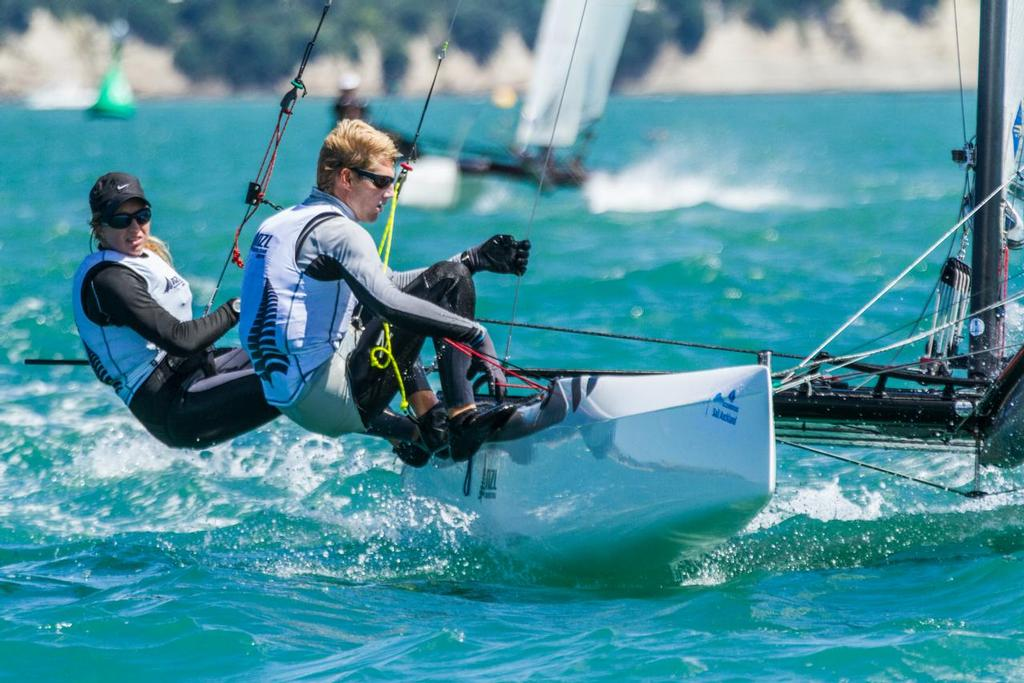 Jones and Saunders - Nacra 17 - Oceanbridge Sail Auckland - Day 1 © Oceanbridge Sail Auckland