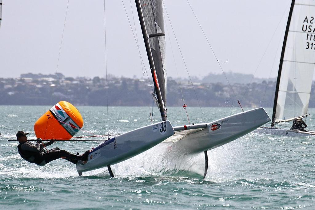 Glenn Ashby A-class catamaran World Championships, Day 2, Takapuna February 12, 2014 © Richard Gladwell www.photosport.co.nz