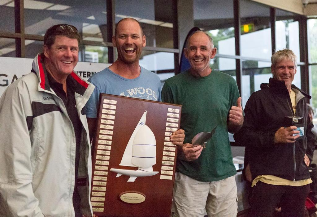 Winners are grinners – none more so than Graeme Taylor, Steve Jarvin and Grant Simmer as Garmin's Jason Browne presented them their loot. - Garmin NSW Etchells Championship photo copyright Kylie Wilson Positive Image - copyright http://www.positiveimage.com.au/etchells taken at  and featuring the  class