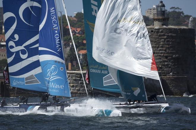 Action aplenty in the Extreme Sailing Series 2014, Act Eight, Sydney. © Lloyd Images