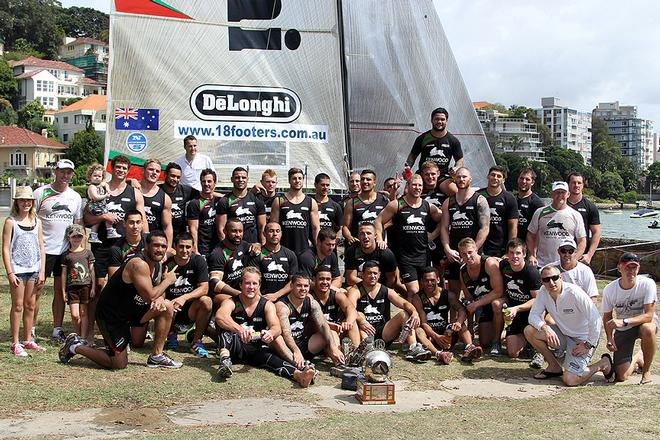 South Sydney Rabbitohs NRL Squad with the JJ Giltinan Trophy - JJ Giltinan 18ft Skiff Championship 2014 © Australian 18 Footers League http://www.18footers.com.au