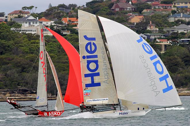 Haier Appliances grabs a narrow lead down the first run - Day 3, JJ Giltinan Trophy, Race 1 © Frank Quealey /Australian 18 Footers League http://www.18footers.com.au
