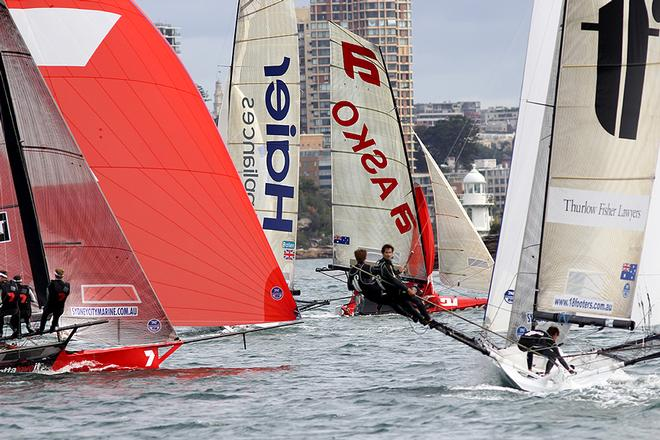 Leaders at the bottom mark - Day 3, JJ Giltinan Trophy, Race 1 © Frank Quealey /Australian 18 Footers League http://www.18footers.com.au