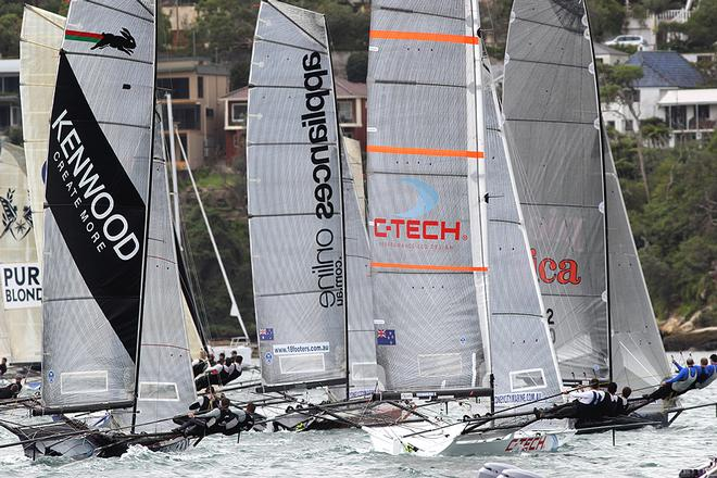 Pica and C-Tech win the start at the windward end - Day 3, JJ Giltinan Trophy, Race 1 © Frank Quealey /Australian 18 Footers League http://www.18footers.com.au