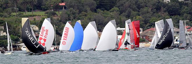 Rounding the first windward mark - Day 3, JJ Giltinan Trophy, Race 1 © Frank Quealey /Australian 18 Footers League http://www.18footers.com.au