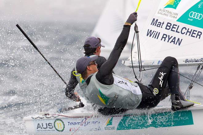 Mat Belcher and Will Ryan (AUS), 470 Men - 2014 ISAF Sailing World Cup Mallorca, day 3 © Thom Touw http://www.thomtouw.com
