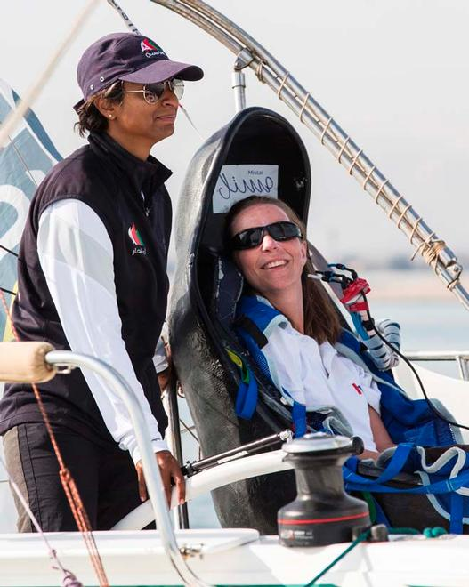 Hilary Lister British quadriplegic sailor( paralysed from the neck down) and Nashwa Al Kindi (OMA) shown here finishing their trans-ocean crossing from Mumbai - Muscat. Oman. Onboard a specially adapted Dragonfly trimaran. © Lloyd Images