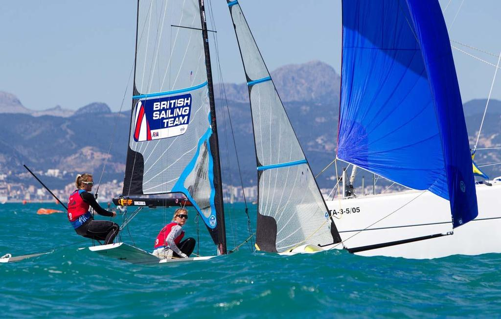 2014 ISAF Sailing World Cup Mallorca - Charlotte Dobson & Sophie Ainsworth in 49er FX © Ocean Images