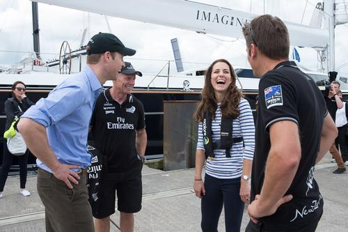 Grant Dalton and Dean Barker chat with their Royal Highnesses the Duke and Duchess of Cambridge who visited Emirates Team New Zealand to match race each other on version 5 America's Cup Yachts NZL41 and NZL68.  © Chris Cameron/ETNZ http://www.chriscameron.co.nz