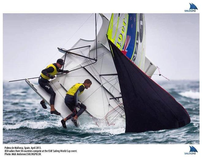 No injuries were sustained in this pitch pole in Palma - ironically Pete & Blair still won this race - Palma and Hyeres World cups © Mick Anderson SAILINGPIX.DK