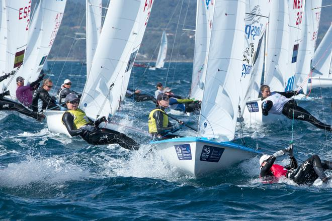 Jo Aleh and Polly Powrie (NZL) lead after Day 4 in the W470 at the 2014 ISAF Sailing World Cup, Hyeres, France © Thom Touw http://www.thomtouw.com