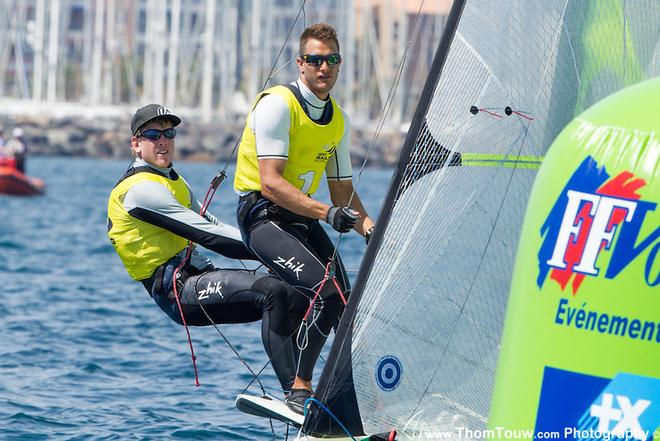 Peter Burling and Blair Tuke, leders in the 49er, 2014 ISAF Sailing World Cup, Hyeres, France © Thom Touw http://www.thomtouw.com