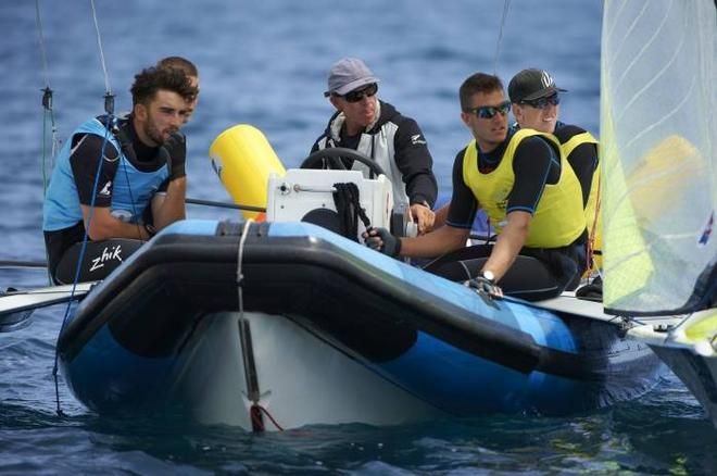 NZL 49er team between medal/theatre races in Hyeres (left-right Josh, Marcus, Hamish, Blair, Pete) - Palma and Hyeres World cups © Hyeres regatta media