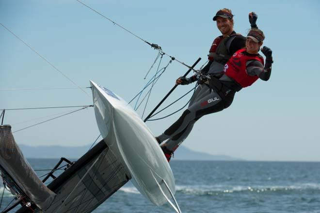 Bissaro and Sicouri in action, Nacra 17 - 2014 ISAF Sailing World Cup Hyeres © Franck Socha