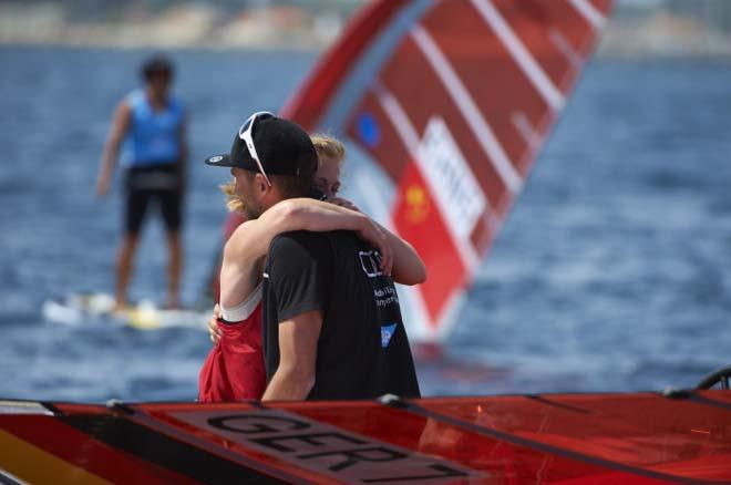 Delle celebrates RSX Women's gold - 2014 ISAF Sailing World Cup Hyeres © Franck Socha
