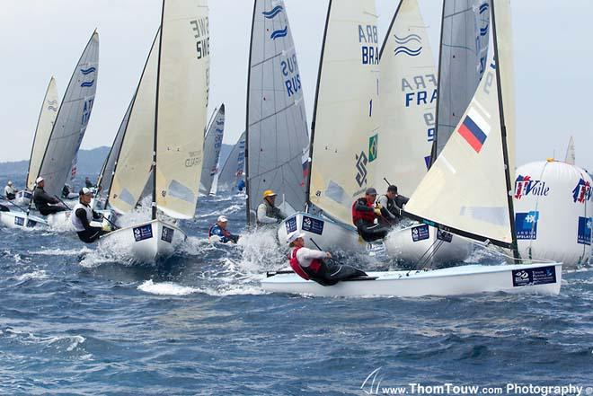 Finn fleet - 2014 ISAF Sailing World Cup, Hyeres, France - Day 5 © Thom Touw http://www.thomtouw.com