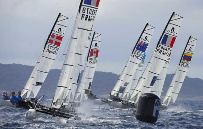 Nacra 17 fleet action at the 2014 ISAF Sailing World Cup Hyeres © Franck Socha