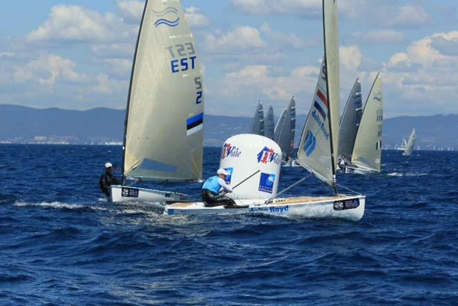 Pieter-Jan Posta in action in the Finn fleet on day 3 of the ISAF Sailing World Cup Hyeres © Thom Touw http://www.thomtouw.com
