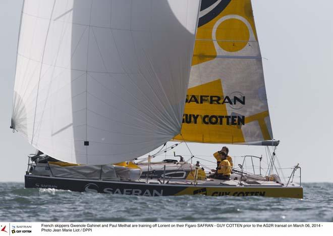French skippers Gwenole Gahinet and Paul Meilhat onboard their Figaro Safran-Guy Cotten ©  Jean Marie Liot / DPPI