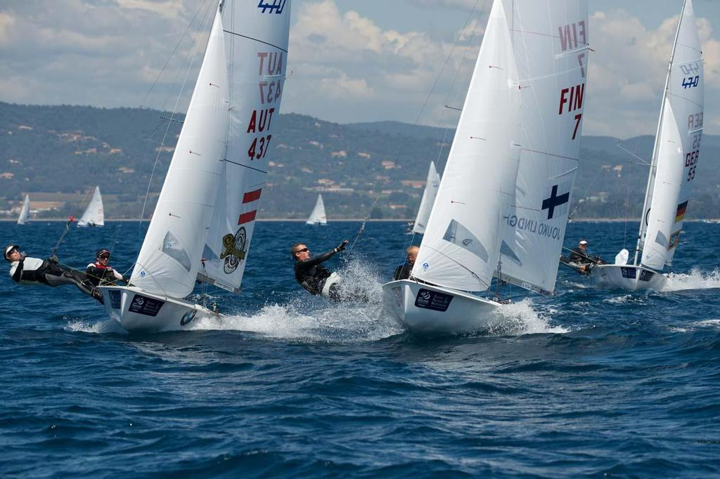 470 Men in action ©  Franck Socha / ISAF Sailing World Cup Hyeres http://swc.ffvoile.fr/