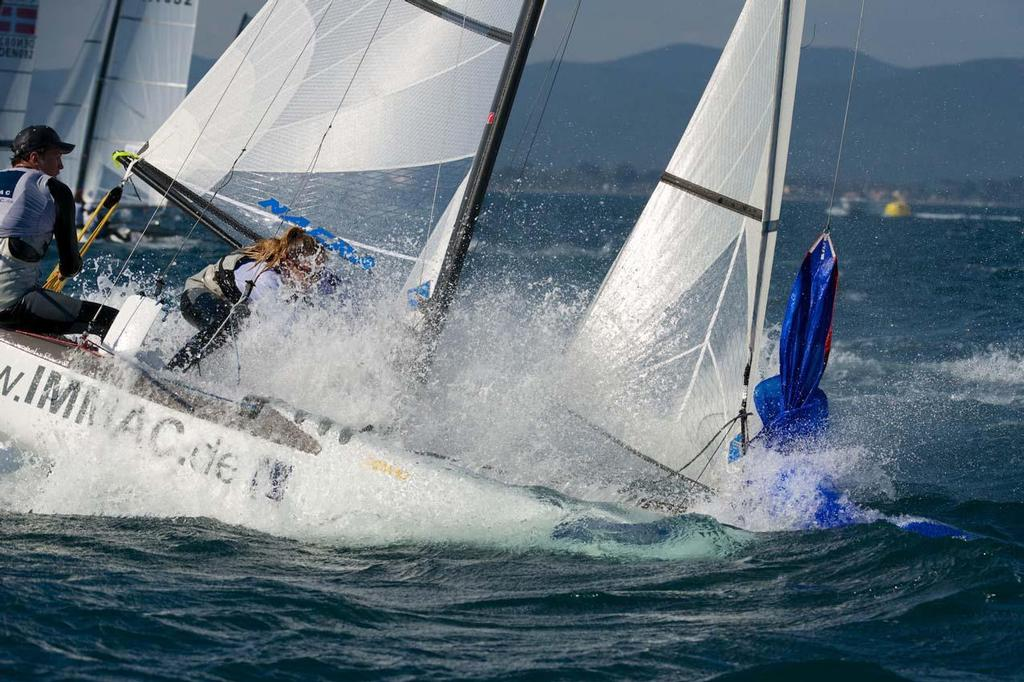 Nacra 17 in the spray ©  Franck Socha / ISAF Sailing World Cup Hyeres http://swc.ffvoile.fr/