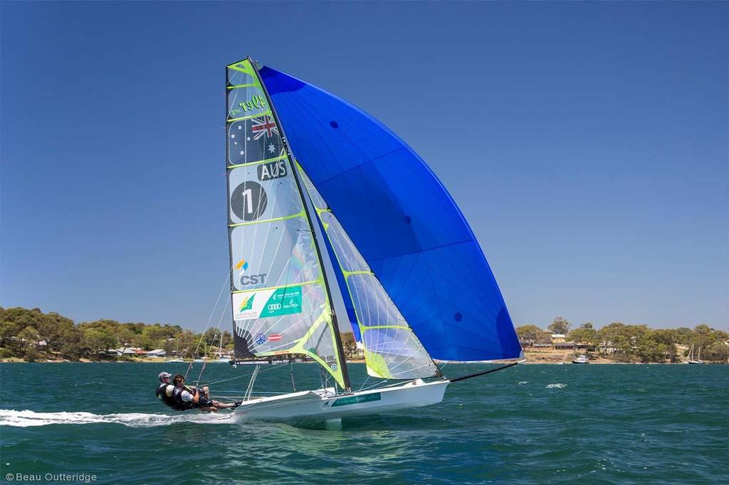 Nathan Outteridge and Iain Jensen training at Lake Macquarie ahead of Hyères © Beau Outteridge