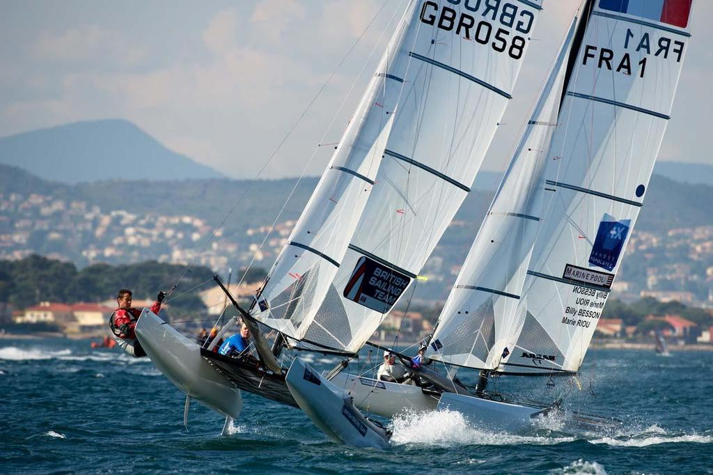 Pippa Wilson and John Gimson, Nacra 17 ©  Franck Socha / ISAF Sailing World Cup Hyeres http://swc.ffvoile.fr/