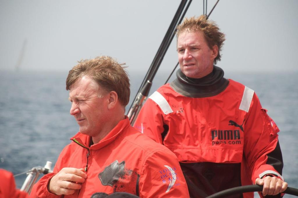 Navigator Andrew Cape and skipper Ken Read, with Delta Lloyd on the horizon, onboard PUMA Ocean Racing, on leg 7 from Boston to Galway © Volvo Ocean Race http://www.volvooceanrace.com