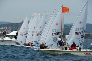Laser Standard medal race - 2014 ISAF Sailing World Cup Hyeres photo copyright Franck Socha taken at  and featuring the  class