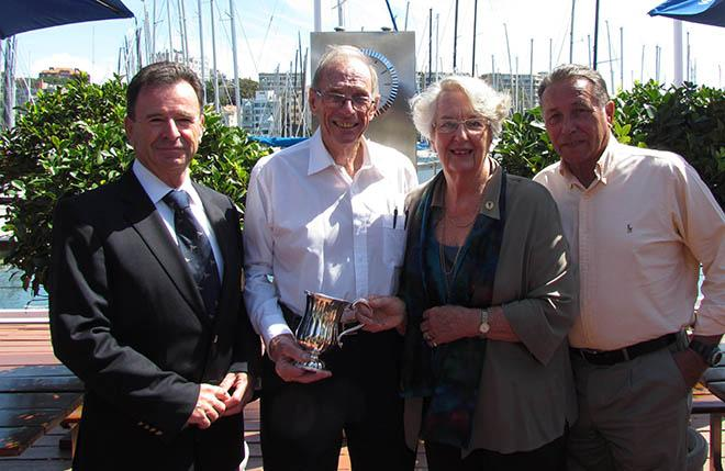 Michael and Jeanette York (centre) present the York Family Corinthian trophy to CYCA Commodore Howard Piggott (left) and Vice Commodore John Cameron (far right). © CYCA Staff .