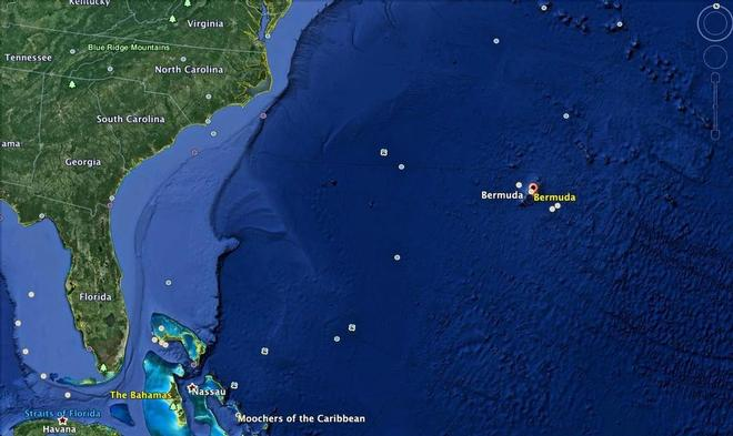 Bermuda is located about 650nm off the US coast and is a British Overseas Territory © Google Earth