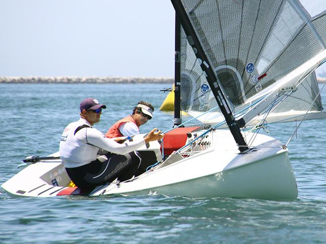 Caleb Paine wins the first race Friday - Finn Class North American Championships 2014 © Rich Roberts