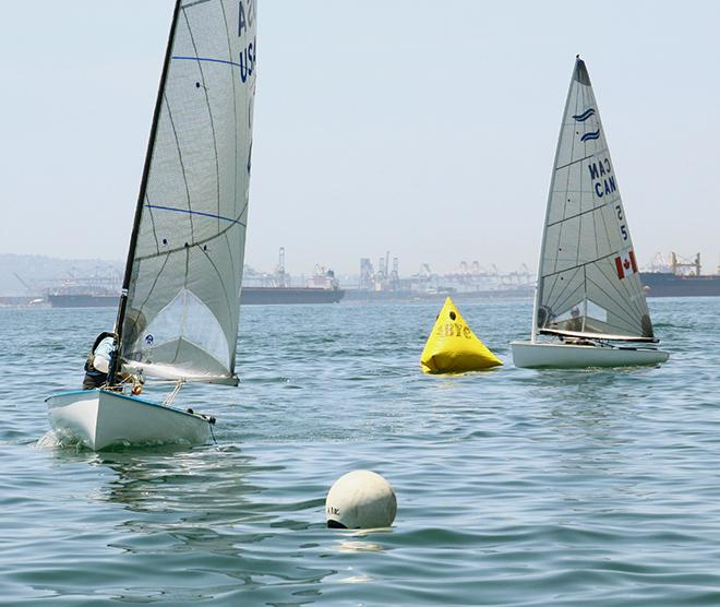 Chuck Rudinsky leads fleet to the offset mark in 2nd race - Finn Class North American Championships 2014 © Rich Roberts